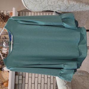 Ruffled Kimono Sleeve Top